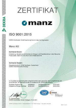 ISO 9001-Zertifikat